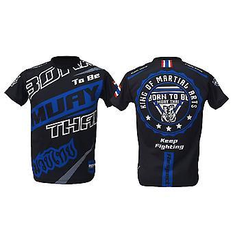 t-skjorte muay thai topp thai boksing MMA sport slitasje unisex - (svart)