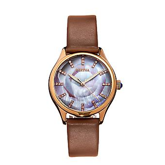 Bertha Georgiana Mother-Of-Pearl Leather-Band Watch - Rose Gold/Beige