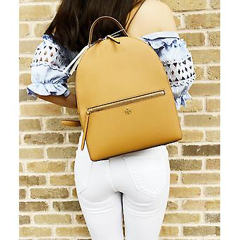 Tory burch emerson medium backpack top zip saffiano leather cardamom tan