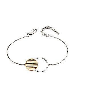 Fiorelli Silver Womens 925 Sterling Silver & Gold Plating Round Disc Armband av längd 17cm + 3cm