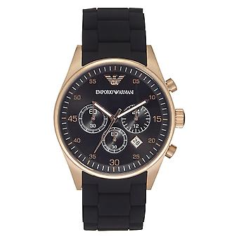 Armani Black And Rose Gold Mens Chronograph Watch Ar5905