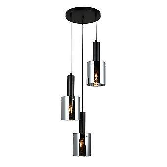 Moderne opknoping hanghanger Zwart 3 Licht met glas, rokerige schaduw, E27