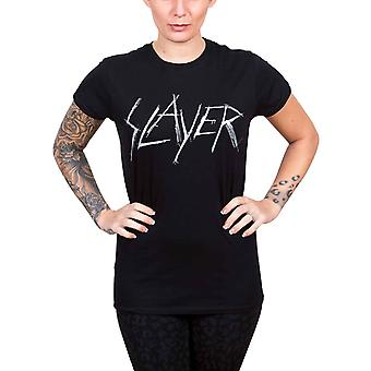 Slayer T Shirt Scratched band Logo Official Womens New Black Skinny Fit T Shirt