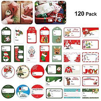 Tinksky christmas gift tag self adhesive stickers christmas festival birthday wedding holiday decora
