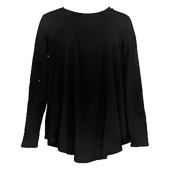 Anyone Women's Top Cozy Knit Swing Round Neck Long Slv Black A293070