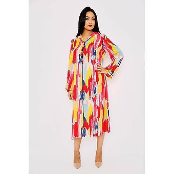 Djellaba nihal lange mouw multi-print hooded midi kaftan jurk in print