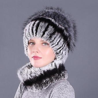 Beanies-collars With Fox Genuine Faux Fur Winter Lady Cap Real Fur Hat & Scarf
