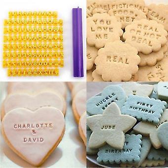 Aakkoset kirjain/numero Cookie Press Stamp, Fondant Cake Baking Molds Työkalut