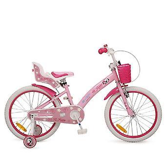 Byox bicicleta para niños cachorro de 20 pulgadas, ruedas de apoyo, cesta delantera, asiento de muñeca a partir de 6 años