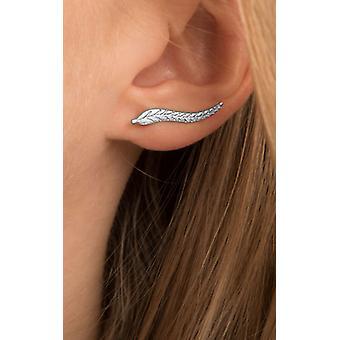 Einfache Silber wellige Blatt Feder Ohr Kletterer
