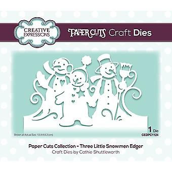 Creative Expressions Paper Cuts Collectie - Christmas Cutting Dies - Three Little Snowmen Edger
