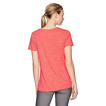 Essentials Women's 2-Pack Tech Stretch Short-Sleeve V-Neck T-Shirt, Fiery Coral Cobalt Heather, Medium