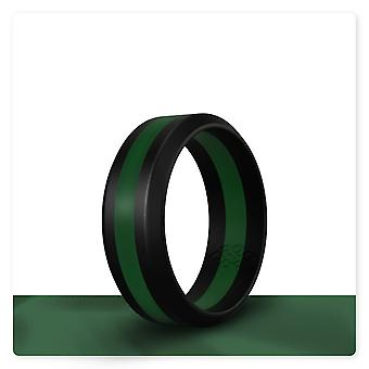 Dark Green Stripe Silicone Ring And Women
