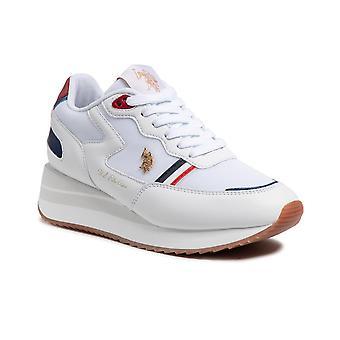 Schoenen Vrouwen Amerikaanse Polo Sneaker Running Livy In Ecopelle / Mesh White Ds21up02