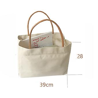 Canvas Women's Shoulder Bag Portable Shopping Bag Reusable Grocery Tote Handbag