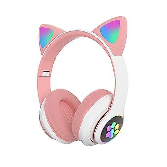 STN-28 Bluetooth Over Ear Music Headset Glowing Cat Ear - Różowy