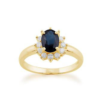 Gemondo 9ct geel gouden 1.11ct blauwe saffier & Diamond ovale Cluster Ring