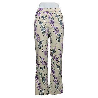 Isaac Mizrahi Live! Women's Pants Stretch Floral Slim-Leg White A390354