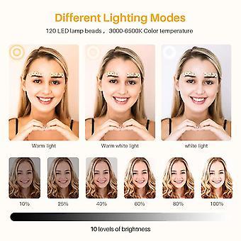 """HanFei LED Ringlicht mit Stativ - Fernbedienung 2 alternativen Stativen, 10.2"""" Selfie Ringleuchte mit"""