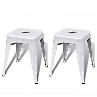 vidaXL Stackable stool 2 pcs. white metal