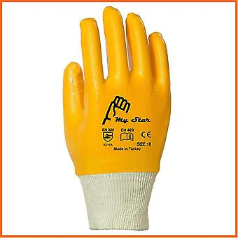 10 Pairs Of Mystar Full Coated Cotton Nitrile Gloves