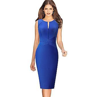 V Neck Front Zipper Long Sleeve Slim Office Party Dress