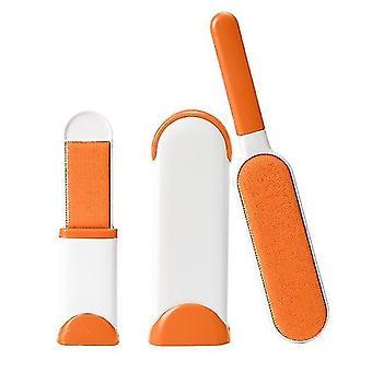 Orange 3 pièces set pet hair remover brush outil d'enlèvement de peluches de fourrure double face avec base autonettoyante cai1420
