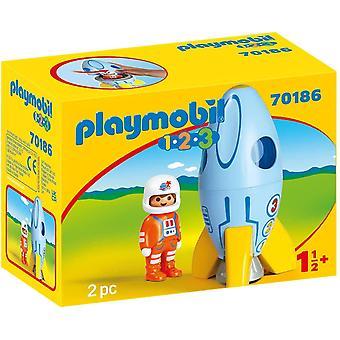 Playmobil 1.2.3 Astronaut With Rocket Playset