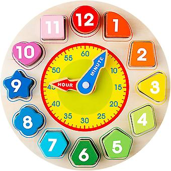 Wooden Clock For Baby Kids Of Teaching Time Number Blocks Puzzle
