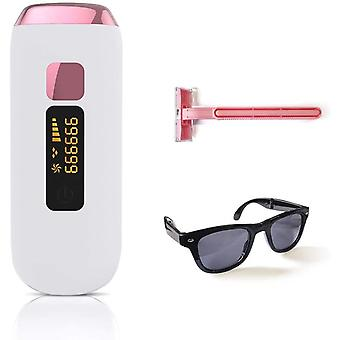 Épilateur IPL pour femmes et hommes, 999999 flashs d'épilation au laser permanents, adapté au visage, aux aisselles, aux bras, à la poitrine, au dos, à la ligne de bikini et aux jambes (rose)