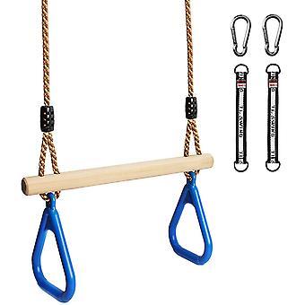 Multifunktions Kinderholz Trapeze Schaukel mit Kunststoff Turnringe zum Aufhängen belastbar bis