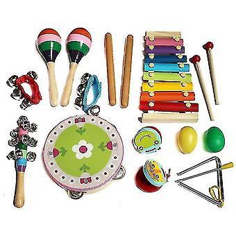 Barn musikinstrument, 14 st trä slagverk musik instrument leksaker för barn