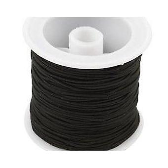 250m zwart 1mm breed elastisch | Bindgaren koord & elastisch voor ambachten