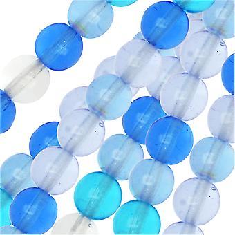 Czech Glass Druk Beads, Round 6mm, 50 Pieces, Carribean Blue Mix