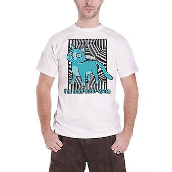 Rick og Morty T Skjorte Ytre Plass Katt Logo Ny Offisiell Mens Hvit