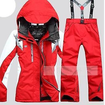 Jaqueta de esqui de terno feminino + calça, estilo rabisco, conjunto feminino de snowboard, casaco e
