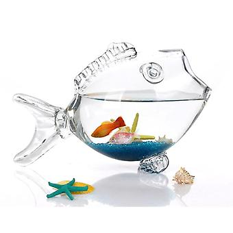 דג זכוכית קערה פסלון ברור זכוכית שקופה בצורת אקווריום אקווריום אקווריום