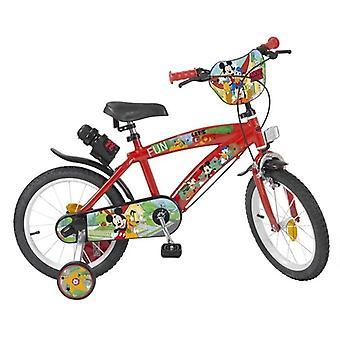 """Barnas sykkel Mikke Mus 14"""" Rød"""