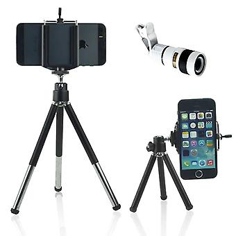 ONX3 (White + Tripod Holder) Universal Clip-on 8x Zoom Optical Telescope Manual Focus Phone Camera Lens and 360 Rotatable Mini Tripod Stand Holder for Samsung Galaxy S5 / S5 Neo / S5 (octa-core) / S5 Duos / S5 Plus / S5 LTE-A G901F / S5 LTE-A G906S / S5 CDMA