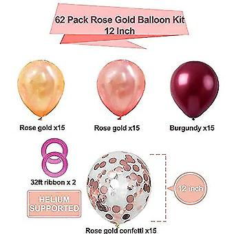 62 Pieces Rose Gold Burgundy Confetti Balloons Kit, 12 Inch Rose Gold Confetti Burgundy Rose Gold Latex Balloons With Balloon Ribbon