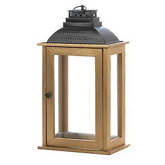 ניקי צ'ו פנס נרות עץ מלבני עם גג מתכת שחור - 19 אינץ ', חבילה של 1