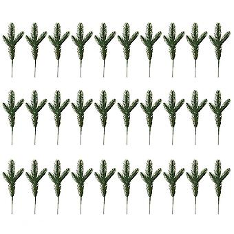 30pcs Artificial Pine Picks Christmas Pine Twig Pine Needles Pine Greenery Stems Xmas Ornaments For Diy Craft Winter Holiday Decorations