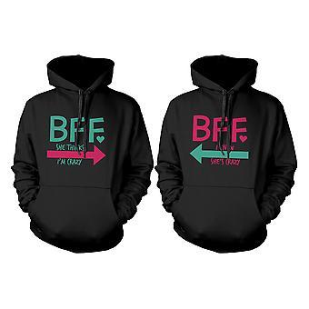 Crazy BFF Hoodies för bästa vänner rolig tröja tröjor stor gåva