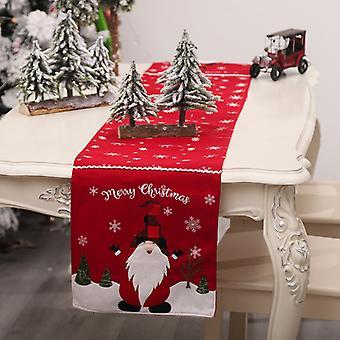Mimigo Noël Gnomes Table Runner Elf Noël Fleur Nappe Tapis Cuisine Table à Manger Toile de Jute Linge pour Intérieur Extérieur Maison Party Décor,