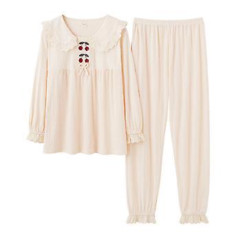 Silktaa Ladies Thin Section Lapel Pajama Set 2-piece Embroidered Cherry Homewear