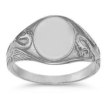 Welsh Dragon Signet Ring in 14K White Gold