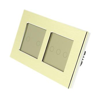 J'ai LumoS or brossé Aluminium Double armature 5 Gang 1 façon Remote Touch LED Light Switch Insert or