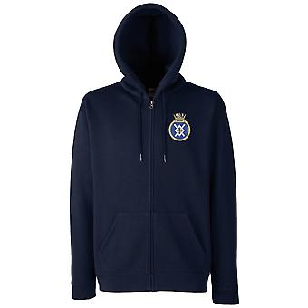 HMS Zealous Embroidered Logo - Official Royal Navy Zipped Hoodie Jacket