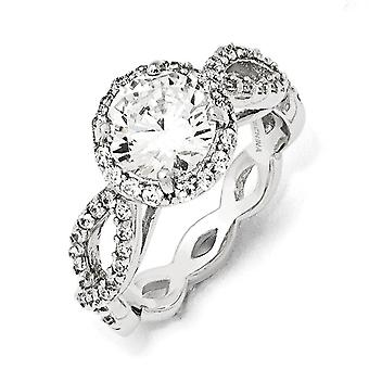 925 Sterling Silver Rhodium plaqué CZ Cubic Zirconia Simulated Diamond Round Twisted Ring Jewelry Gifts for Women - Ring