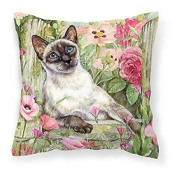 Siamese kat in de rozen Canvas decoratieve kussen